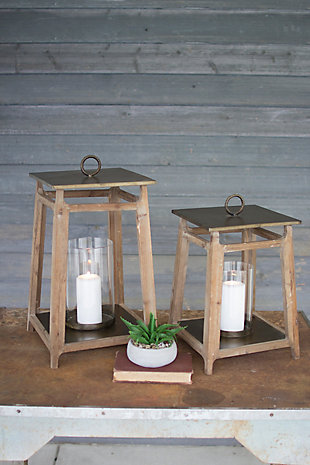 Metal and Wood Lanterns (Set of 2), , rollover