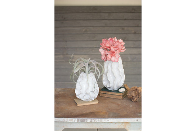 Ceramic Ruffle Large Vase, , large