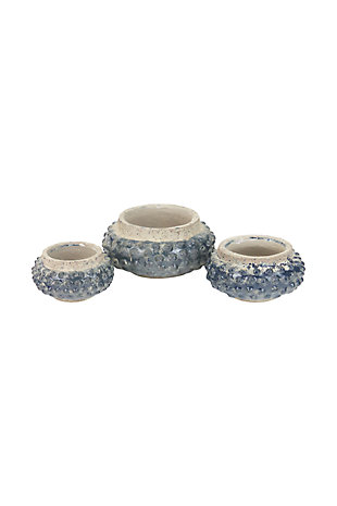 Knobby Ceramic Planters (Set of 3), , large