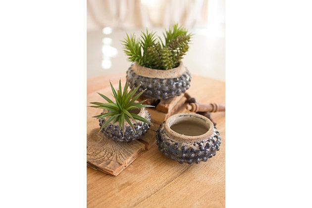 Knobby Ceramic Planters (Set of 3), , large