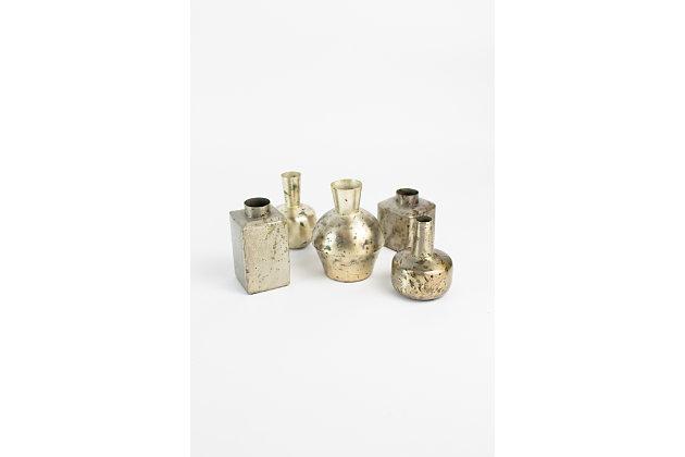 Metal Bud Verdigris And Brass Vases (Set of 5), , large