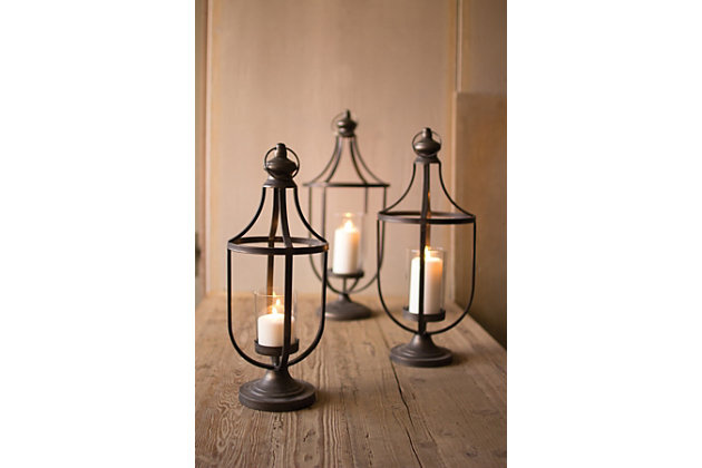 Metal Lanterns with Glass Insert (Set of 3), , large