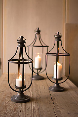 Metal Lanterns with Glass Insert (Set of 3), , rollover