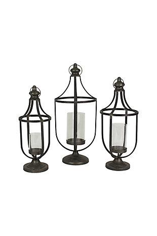 Metal Lanterns with Glass Insert (Set of 3), , large