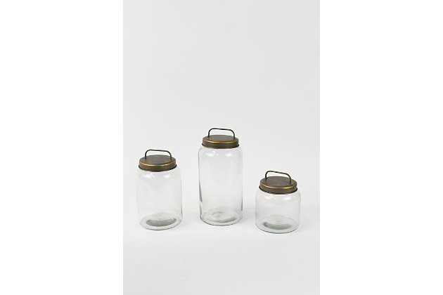 Glass Jars with Metal Lids (Set of 3), , large