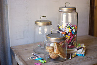Glass Jars with Metal Lids (Set of 3), , rollover