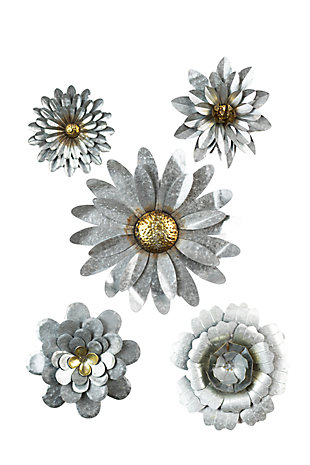Galvanized Metal Flower Wall Hangings (Set of 5), , large