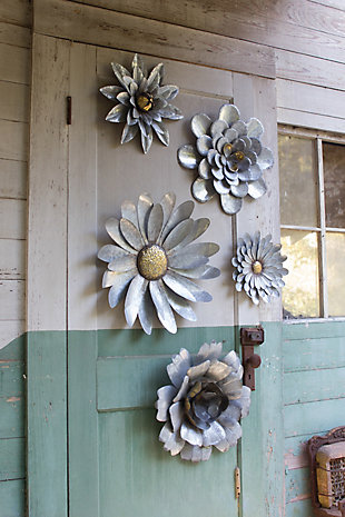 Galvanized Metal Flower Wall Hangings (Set of 5), , rollover