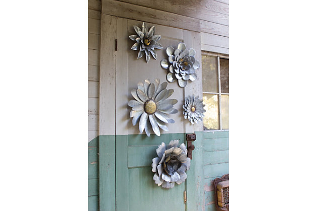 Galvanized Metal Flower Wall Hangings (Set of 5), , large