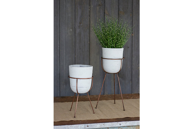 Clay Flower Bells on Copper Finish Bases (Set of 2), , large