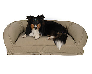 Poly Fill Medium Quilted Microfiber Bolster Pet Bed, Beige, rollover
