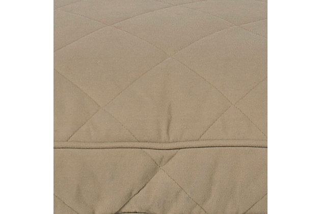 Poly Fill Medium Quilted Microfiber Bolster Pet Bed, Beige, large