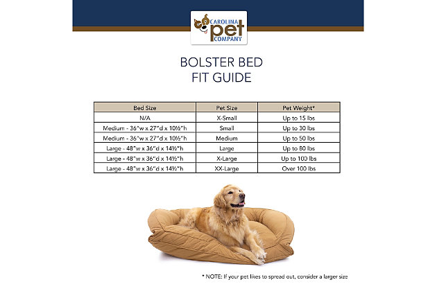 Poly Fill Large Quilted Microfiber Bolster Pet Bed, Chocolate, large