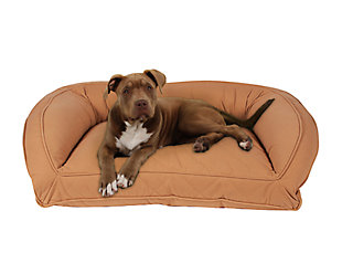 Poly Fill Medium Quilted Microfiber Bolster Pet Bed, Saddle, rollover