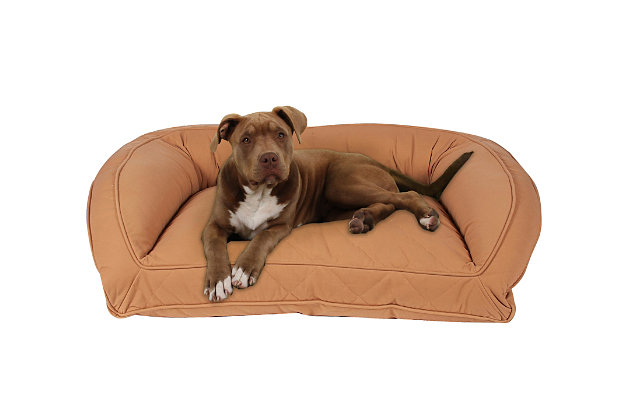 Poly Fill Medium Quilted Microfiber Bolster Pet Bed, Saddle, large
