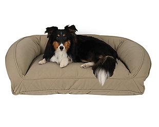 Memory Foam Medium Quilted Microfiber Bolster Pet Bed, Beige, rollover