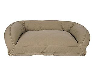 Memory Foam Medium Quilted Microfiber Bolster Pet Bed, Beige, large