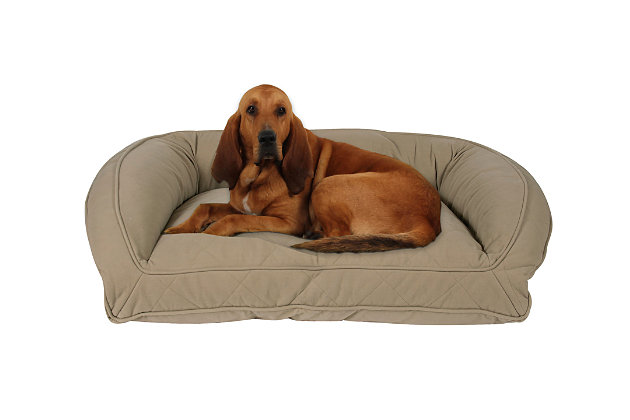 Memory Foam Large Quilted Microfiber Bolster Pet Bed, , large