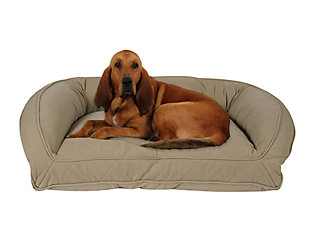 Memory Foam Large Quilted Microfiber Bolster Pet Bed, Beige, large