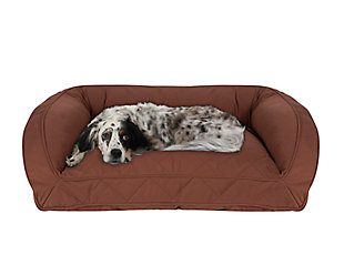 Memory Foam Medium Quilted Microfiber Bolster Pet Bed, Chocolate, rollover