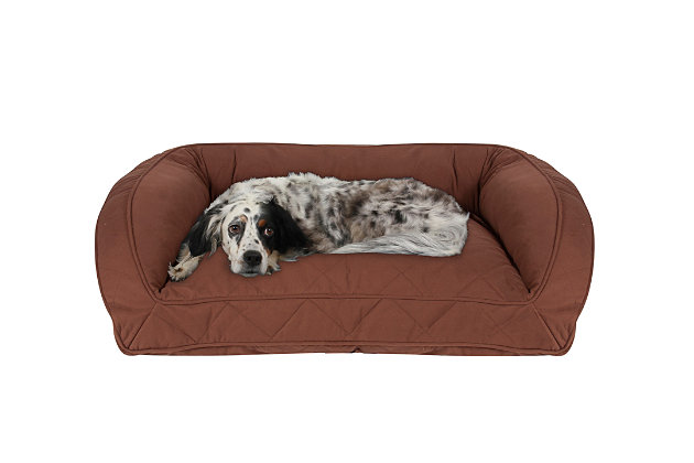 Memory Foam Medium Quilted Microfiber Bolster Pet Bed, Chocolate, large