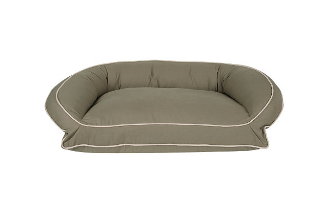 Poly Fill Medium Classic Canvas Bolster Pet Bed with Contrast Cording, Sage/Khaki, large