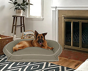 Poly Fill Large Classic Canvas Bolster Pet Bed with Contrast Cording, Sage/Khaki, large