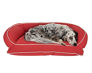 Poly Fill Medium Classic Canvas Bolster Pet Bed with Contrast Cording, Barn Red/Khaki, large
