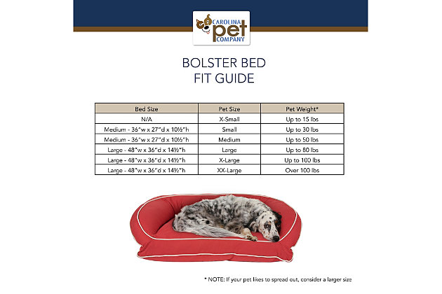 Poly Fill Large Classic Canvas Bolster Pet Bed with Contrast Cording, Barn Red/Khaki, large