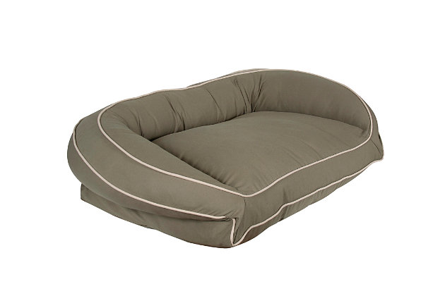 Ortho Medium Classic Canvas Bolster Pet Bed with Contrast Cording, Sage/Khaki, large