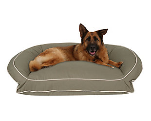 Ortho Large Classic Canvas Bolster Pet Bed with Contrast Cording, Sage/Khaki, large