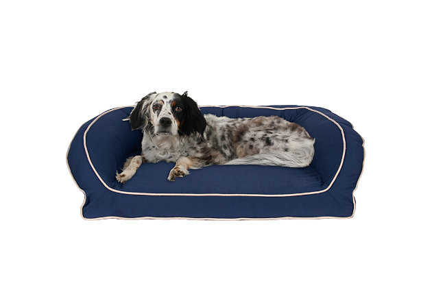 Ortho Medium Classic Canvas Bolster Pet Bed with Contrast Cording, Blue/Khaki, large