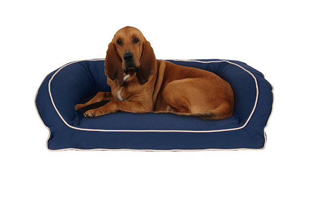Ortho Large Classic Canvas Bolster Pet Bed with Contrast Cording, Blue/Khaki, large