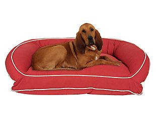 Ortho Large Classic Canvas Bolster Pet Bed with Contrast Cording, Barn Red/Khaki, large