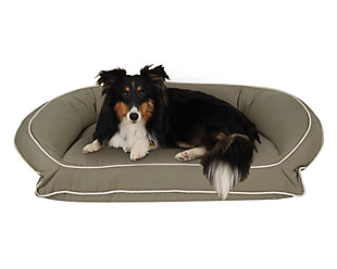 Memory Foam Medium Classic Canvas Bolster Pet Bed with Contrast Cording, Sage/Khaki, rollover
