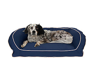 Memory Foam Medium Classic Canvas Bolster Pet Bed with Contrast Cording, Blue/Khaki, rollover