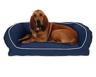 Memory Foam Large Classic Canvas Bolster Pet Bed with Contrast Cording, Blue/Khaki, large