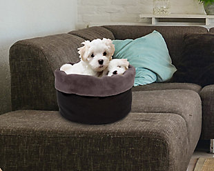 Round Puff Pet Bed, Charcoal, rollover