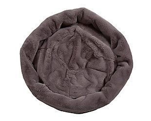 Round Puff Pet Bed, Charcoal, large