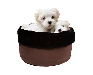 Round Puff Pet Bed, Chocolate, rollover