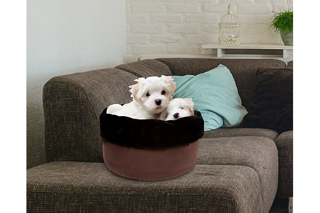 Round Puff Pet Bed, Chocolate, large