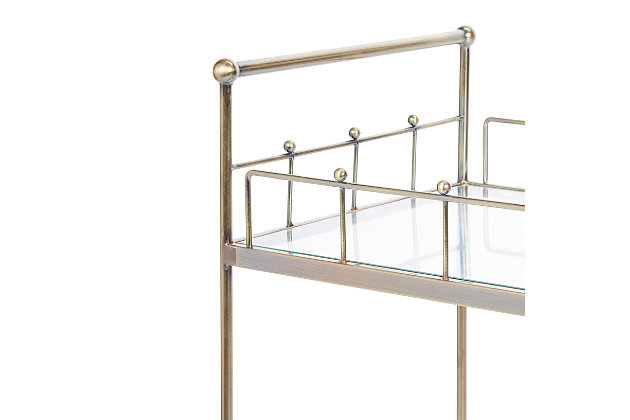 Rolling 2-Tier Rectangular Serving Cart in Antique Gold Finish, , large