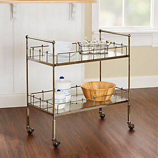 Rolling 2-Tier Rectangular Serving Cart in Antique Gold Finish, , rollover