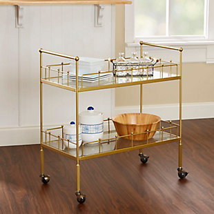 Rolling 2-Tier Rectangular Serving Cart in Gold Finish, , rollover