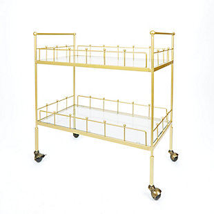 Rolling 2-Tier Rectangular Serving Cart in Gold Finish, , large