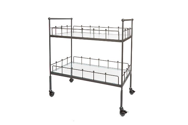 Rolling 2-Tier Rectangular Serving Cart in Hammered Bronze Finish, , large