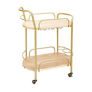 Rolling 2-Tier Gold Finish Bar Cart, , large