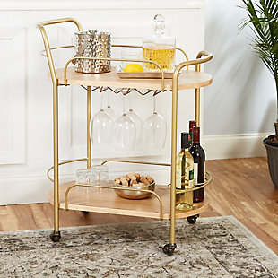 Rolling 2-Tier Gold Finish Bar Cart, , rollover