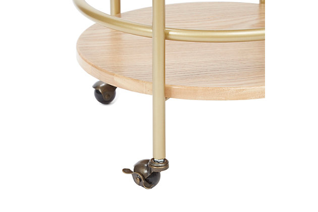 Rolling Round 2-Tier Gold Finish Bar Cart, , large