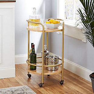Rolling Round 2-Tier Gold Finish Bar Cart, , rollover